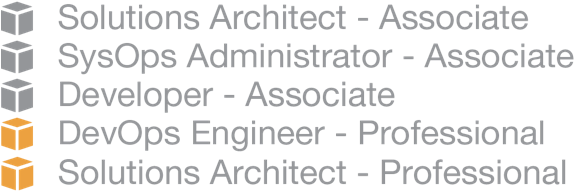 AWS Certification Badges: Developer - Associate, Solutions Architect - Associate, Solutions Architect - Professional