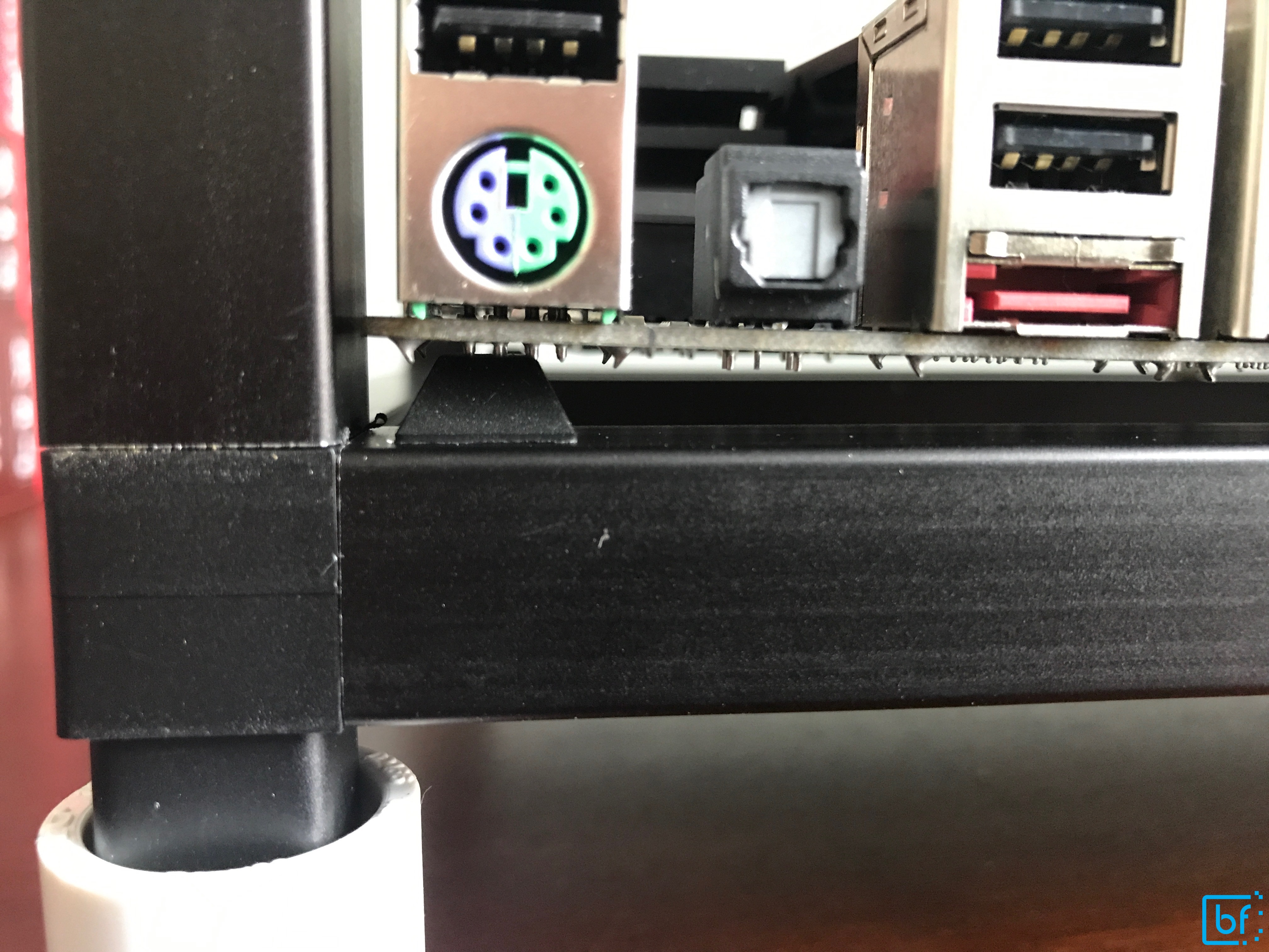 Motherboard case rubber bumpers